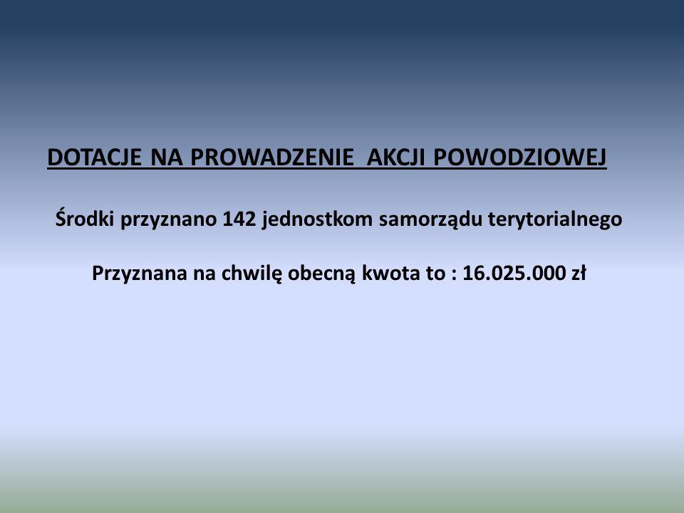 DOTACJE NA PROWADZENIE AKCJI POWODZIOWEJ Środki przyznano 142 jednostkom samorządu terytorialnego Przyznana na chwilę obecną kwota to : 16.025.000 zł