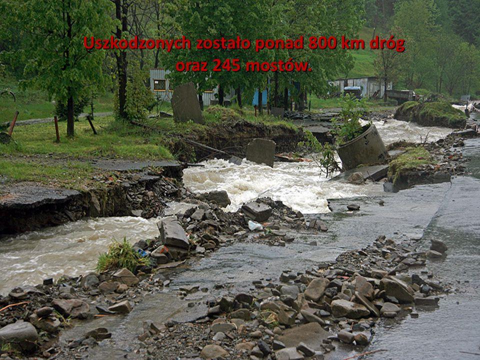 Uszkodzonych zostało ponad 800 km dróg oraz 245 mostów.