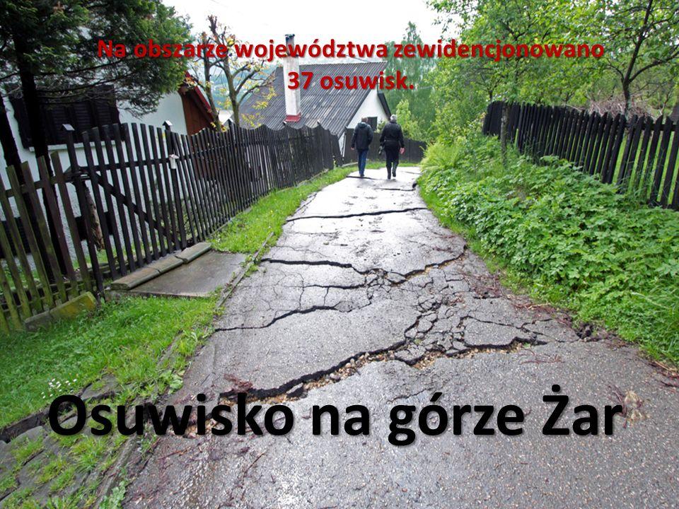 Osuwisko na górze Żar Na obszarze województwa zewidencjonowano 37 osuwisk.