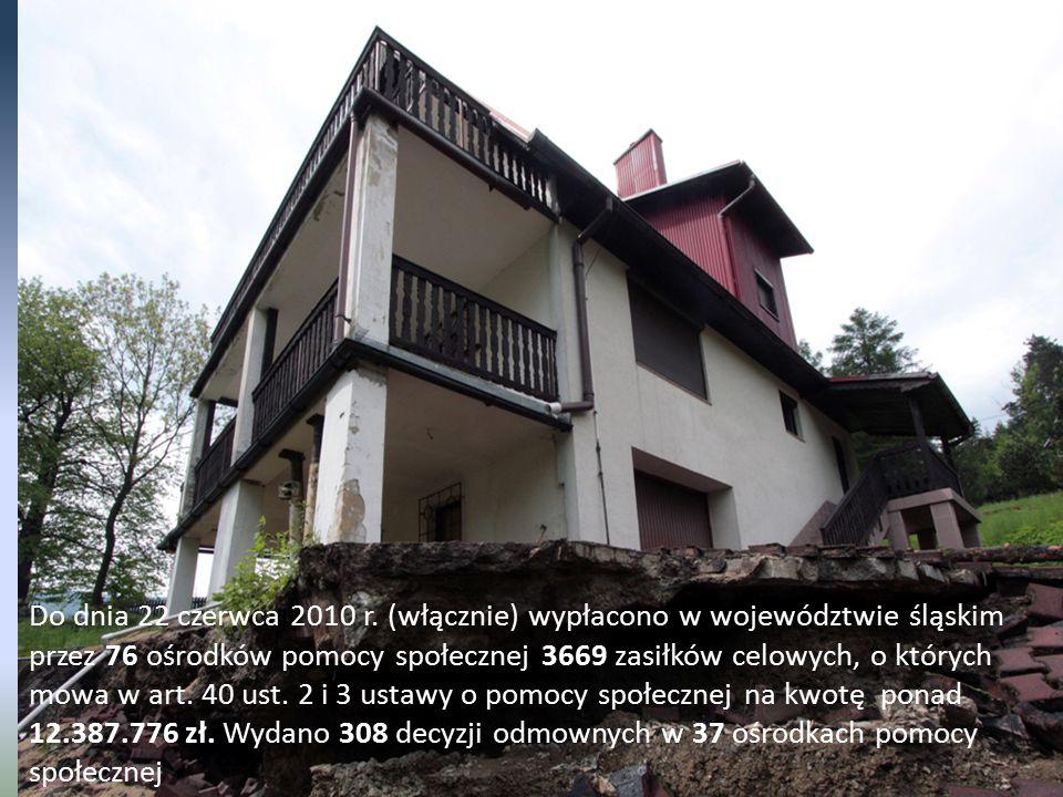 Do dnia 22 czerwca 2010 r. (włącznie) wypłacono w województwie śląskim przez 76 ośrodków pomocy społecznej 3669 zasiłków celowych, o których mowa w ar