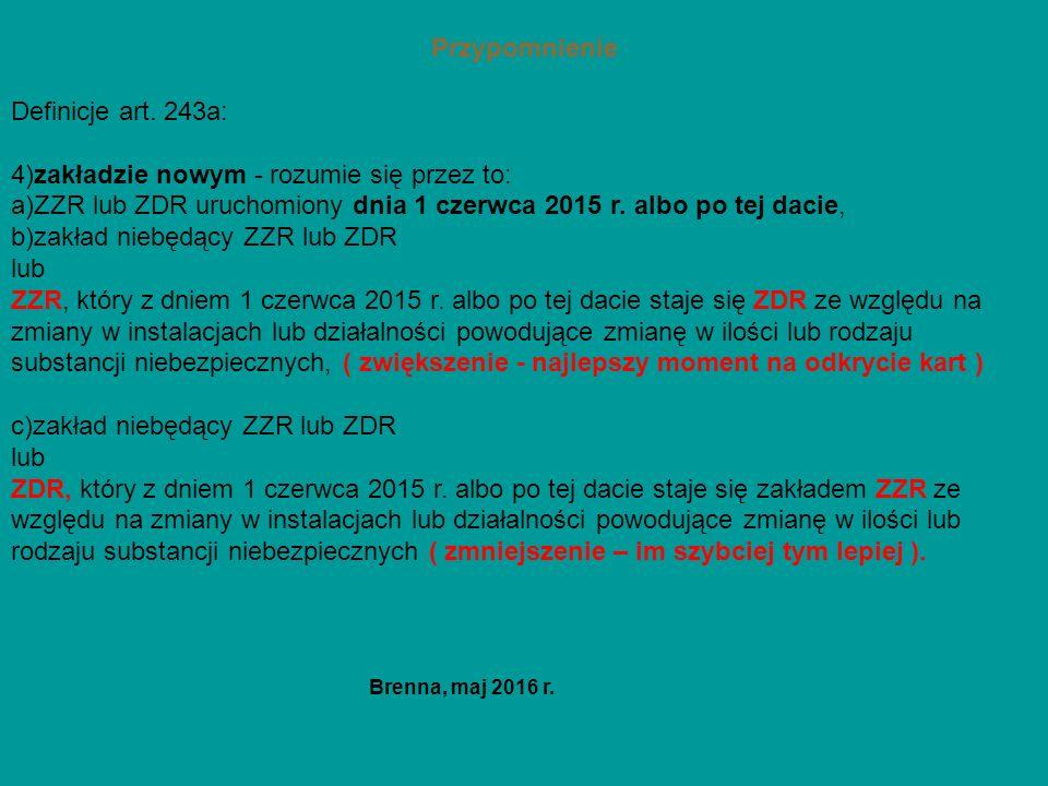 Przypomnienie Definicje art. 243a: 4)zakładzie nowym - rozumie się przez to: a)ZZR lub ZDR uruchomiony dnia 1 czerwca 2015 r. albo po tej dacie, b)zak