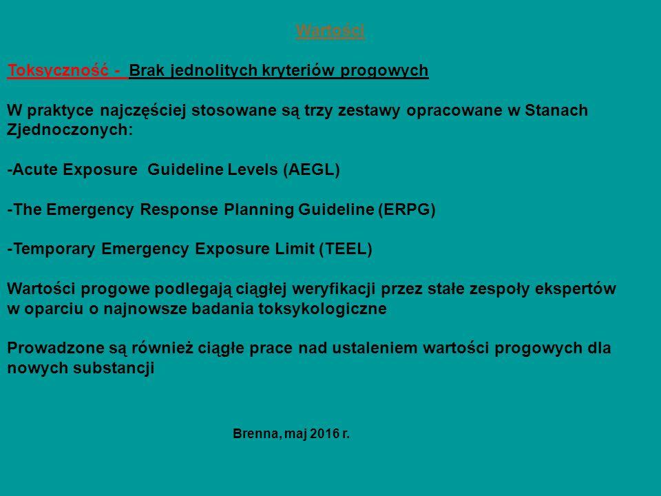 Wartości Toksyczność - Brak jednolitych kryteriów progowych W praktyce najczęściej stosowane są trzy zestawy opracowane w Stanach Zjednoczonych: -Acute Exposure Guideline Levels (AEGL) -The Emergency Response Planning Guideline (ERPG) -Temporary Emergency Exposure Limit (TEEL) Wartości progowe podlegają ciągłej weryfikacji przez stałe zespoły ekspertów w oparciu o najnowsze badania toksykologiczne Prowadzone są również ciągłe prace nad ustaleniem wartości progowych dla nowych substancji Brenna, maj 2016 r.