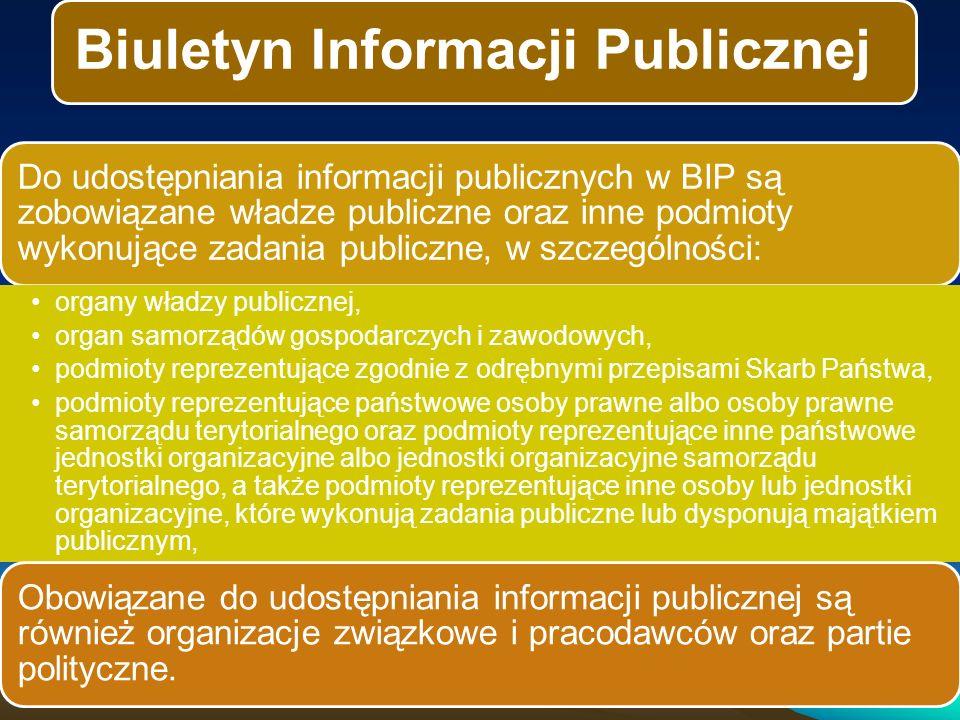 Biuletyn Informacji Publicznej Do udostępniania informacji publicznych w BIP są zobowiązane władze publiczne oraz inne podmioty wykonujące zadania publiczne, w szczególności: organy władzy publicznej, organ samorządów gospodarczych i zawodowych, podmioty reprezentujące zgodnie z odrębnymi przepisami Skarb Państwa, podmioty reprezentujące państwowe osoby prawne albo osoby prawne samorządu terytorialnego oraz podmioty reprezentujące inne państwowe jednostki organizacyjne albo jednostki organizacyjne samorządu terytorialnego, a także podmioty reprezentujące inne osoby lub jednostki organizacyjne, które wykonują zadania publiczne lub dysponują majątkiem publicznym, Obowiązane do udostępniania informacji publicznej są również organizacje związkowe i pracodawców oraz partie polityczne.