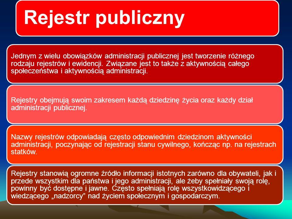 Rejestr publiczny Jednym z wielu obowiązków administracji publicznej jest tworzenie różnego rodzaju rejestrów i ewidencji.