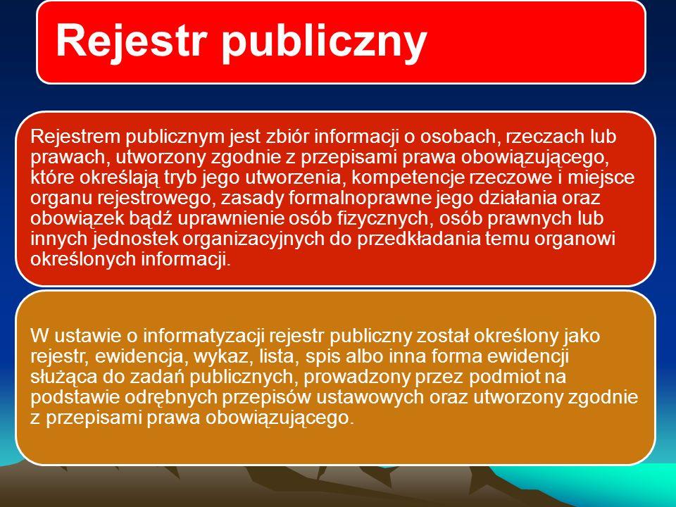 Rejestr publiczny Analizując poszczególne fragmenty definicji rejestru publicznego, zawartej w ustawie o informatyzacji, próba odrębnego wskazania definicji ewidencji, wykazu, listy i rejestru urzędowego pokazuje fakt nadawania tym terminom różnych znaczeń w języku prawnym, wzajemnego nakładania się tych pojęć i braku uzgodnionego stanowiska doktryny.