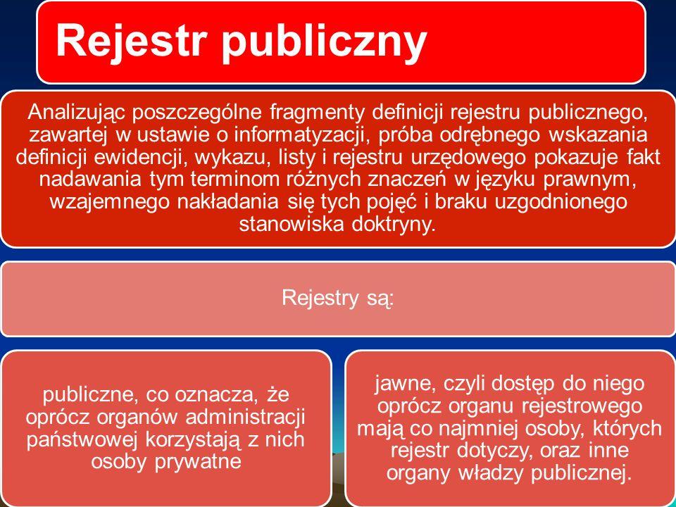 Rejestr publiczny Rejestr publiczny jest to instytucja, w której organ rejestrowy o charakterze publicznym, czyli organ władzy państwowej lub organ samorządu terytorialnego, utworzony zgonie z przepisami Konstytucji i innych ustaw, albo inny podmiot wykonujący tzw.