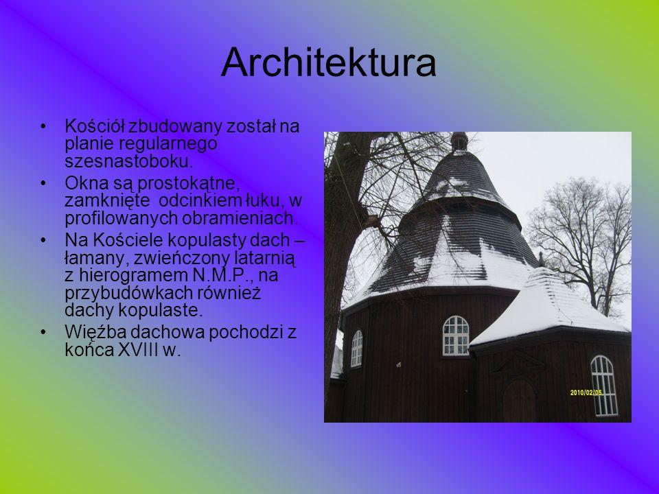 Architektura Kościół zbudowany został na planie regularnego szesnastoboku. Okna są prostokątne, zamknięte odcinkiem łuku, w profilowanych obramieniach