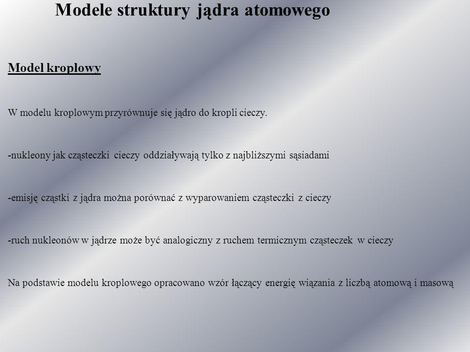 Modele struktury jądra atomowego Model kroplowy W modelu kroplowym przyrównuje się jądro do kropli cieczy.