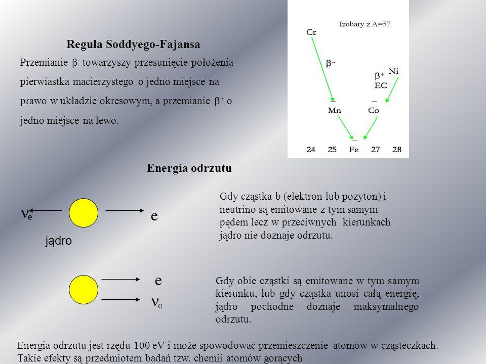 Reguła Soddyego-Fajansa Przemianie  - towarzyszy przesunięcie położenia pierwiastka macierzystego o jedno miejsce na prawo w układzie okresowym, a przemianie  + o jedno miejsce na lewo.