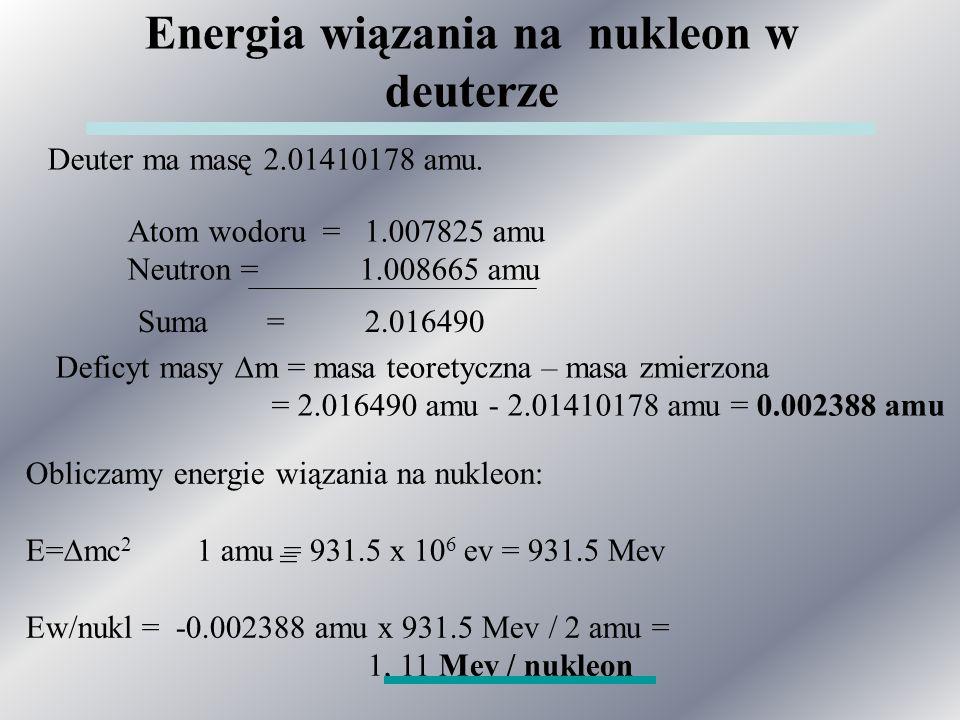 Energia wiązania na nukleon w deuterze Deuter ma masę 2.01410178 amu.