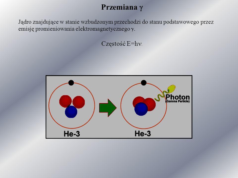 Przemiana  Jądro znajdujące w stanie wzbudzonym przechodzi do stanu podstawowego przez emisję promieniowania elektromagnetycznego .