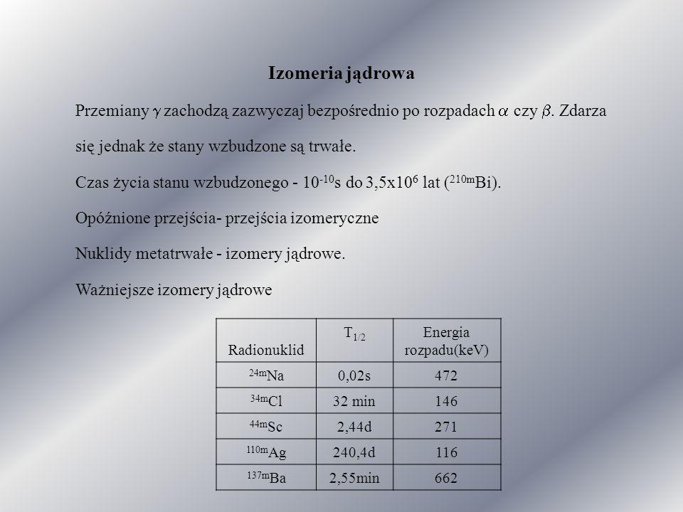 Izomeria jądrowa Przemiany  zachodzą zazwyczaj bezpośrednio po rozpadach  czy .
