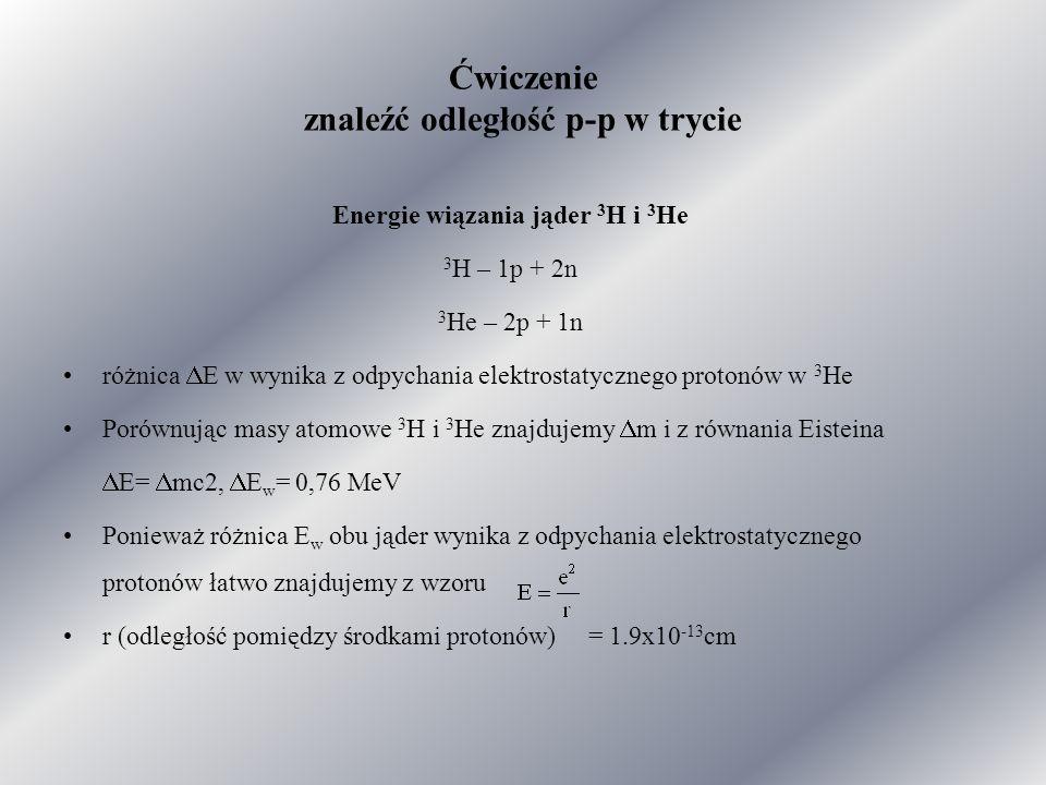 Ćwiczenie znaleźć odległość p-p w trycie Energie wiązania jąder 3 H i 3 He 3 H – 1p + 2n 3 He – 2p + 1n różnica  E w wynika z odpychania elektrostatycznego protonów w 3 He Porównując masy atomowe 3 H i 3 He znajdujemy  m i z równania Eisteina  E=  mc2,  E w = 0,76 MeV Ponieważ różnica E w obu jąder wynika z odpychania elektrostatycznego protonów łatwo znajdujemy z wzoru r (odległość pomiędzy środkami protonów) = 1.9x10 -13 cm
