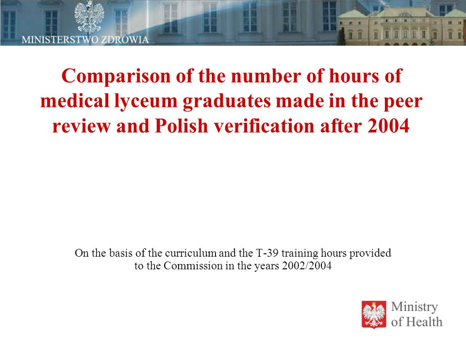 Comparison of the number of hours of medical lyceum graduates made  in the peer review and Polish verification after 2004 On the basis of the curriculum and the T-39 training hours provided to the Commission in the years 2002/2004