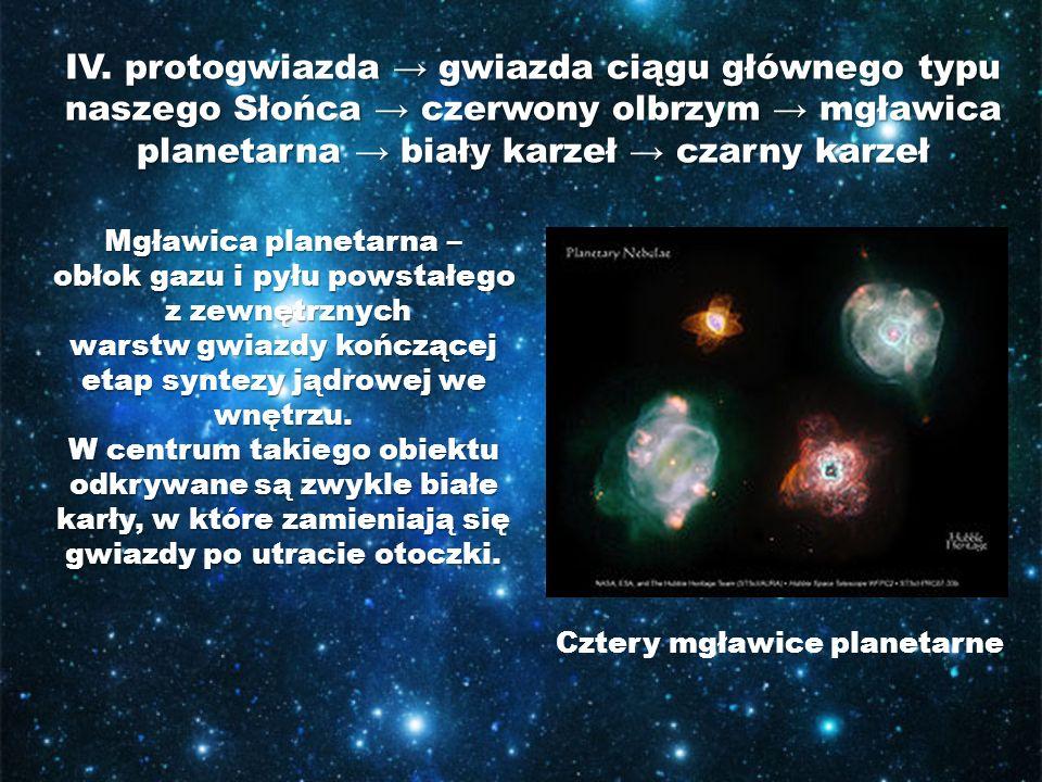 IV. protogwiazda → gwiazda ciągu głównego typu naszego Słońca → czerwony olbrzym → mgławica planetarna → biały karzeł → czarny karzeł Cztery mgławice
