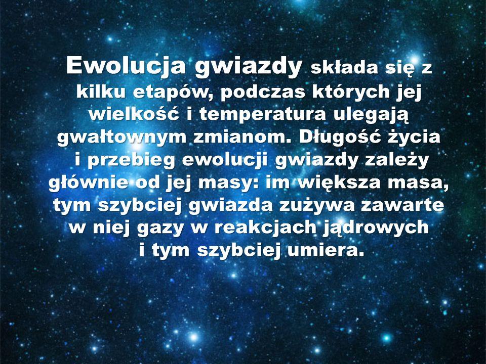 Ewolucja gwiazdy składa się z kilku etapów, podczas których jej wielkość i temperatura ulegają gwałtownym zmianom.