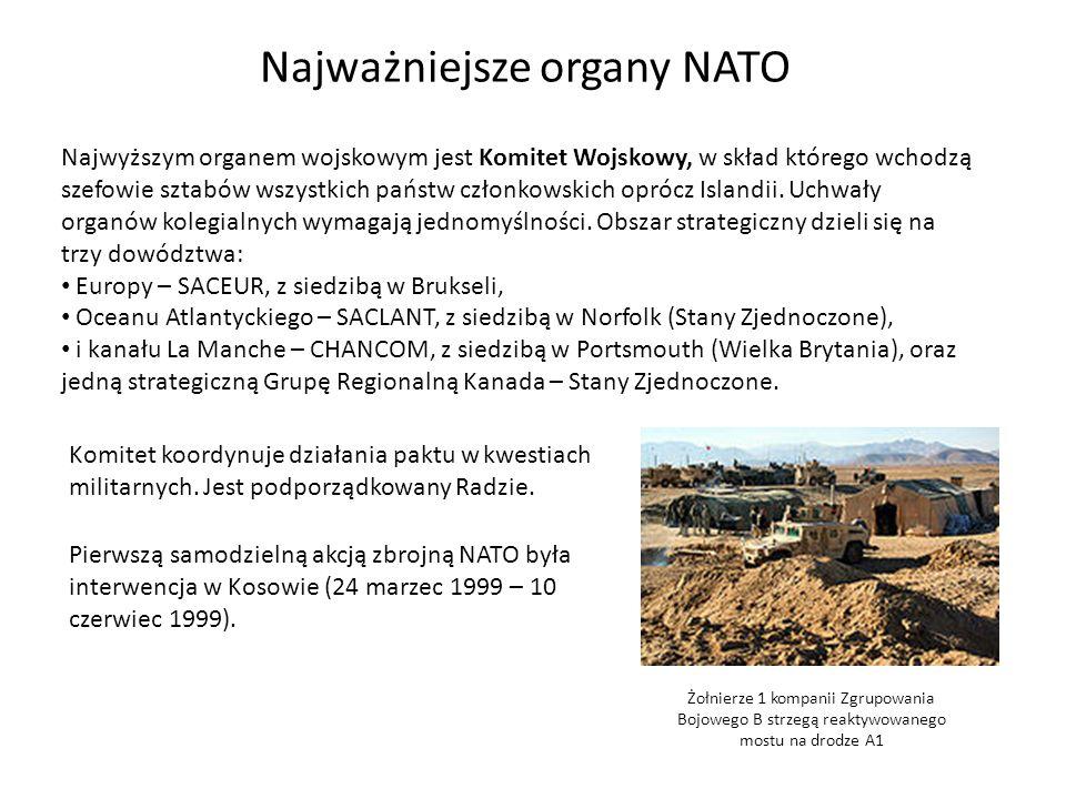 Najważniejsze organy NATO Najwyższym organem wojskowym jest Komitet Wojskowy, w skład którego wchodzą szefowie sztabów wszystkich państw członkowskich oprócz Islandii.