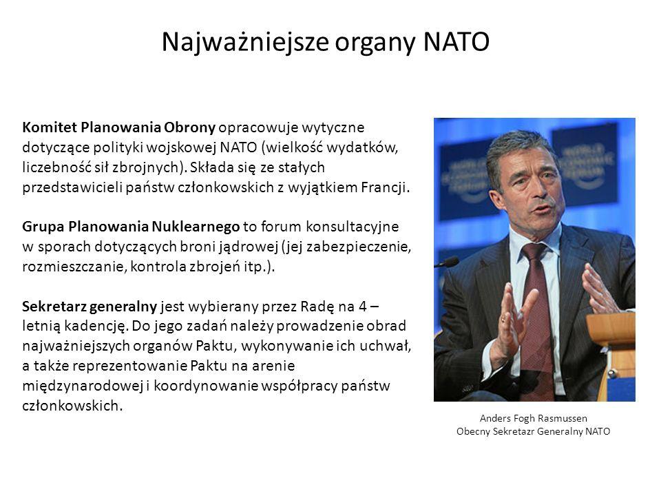 Najważniejsze organy NATO Komitet Planowania Obrony opracowuje wytyczne dotyczące polityki wojskowej NATO (wielkość wydatków, liczebność sił zbrojnych).