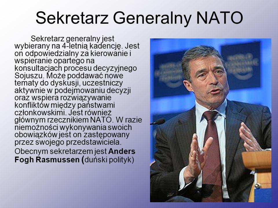 Sekretarz Generalny NATO Sekretarz generalny jest wybierany na 4-letnią kadencję.