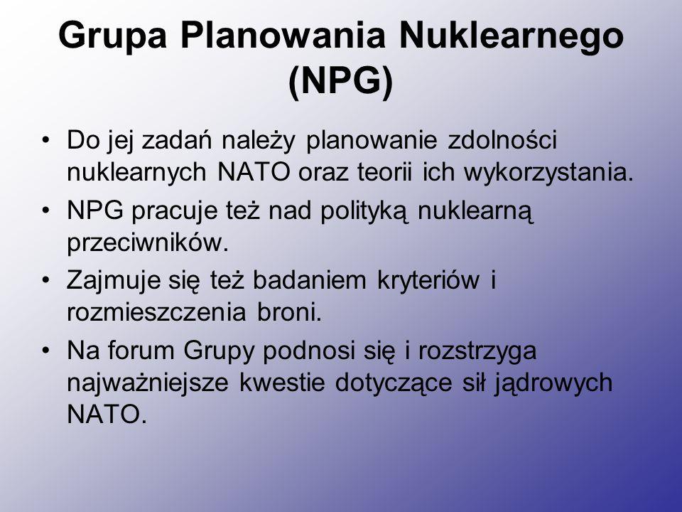 Grupa Planowania Nuklearnego (NPG) Do jej zadań należy planowanie zdolności nuklearnych NATO oraz teorii ich wykorzystania.
