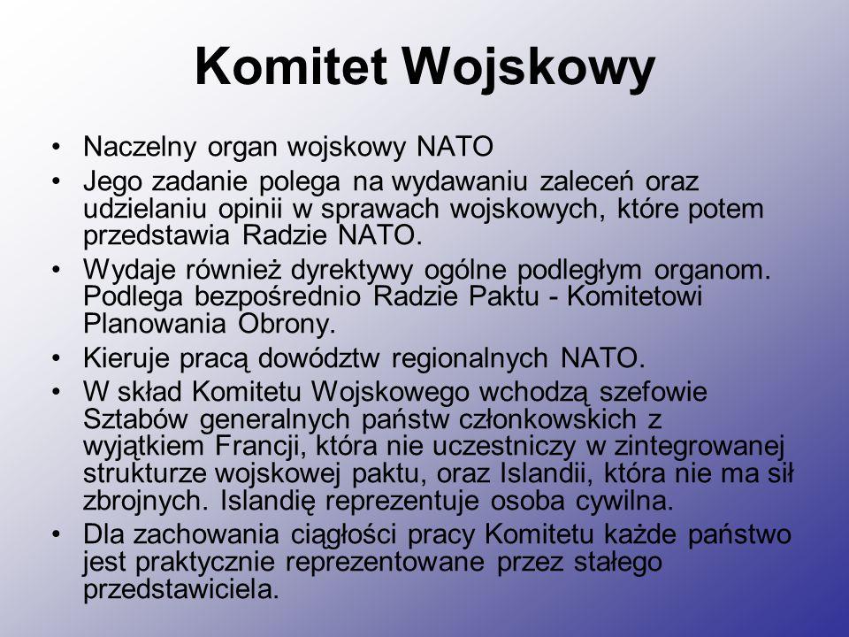 Komitet Wojskowy Naczelny organ wojskowy NATO Jego zadanie polega na wydawaniu zaleceń oraz udzielaniu opinii w sprawach wojskowych, które potem przedstawia Radzie NATO.