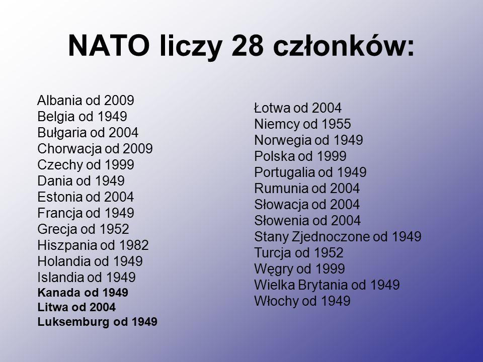 NATO liczy 28 członków: Albania od 2009 Belgia od 1949 Bułgaria od 2004 Chorwacja od 2009 Czechy od 1999 Dania od 1949 Estonia od 2004 Francja od 1949 Grecja od 1952 Hiszpania od 1982 Holandia od 1949 Islandia od 1949 Kanada od 1949 Litwa od 2004 Luksemburg od 1949 Łotwa od 2004 Niemcy od 1955 Norwegia od 1949 Polska od 1999 Portugalia od 1949 Rumunia od 2004 Słowacja od 2004 Słowenia od 2004 Stany Zjednoczone od 1949 Turcja od 1952 Węgry od 1999 Wielka Brytania od 1949 Włochy od 1949