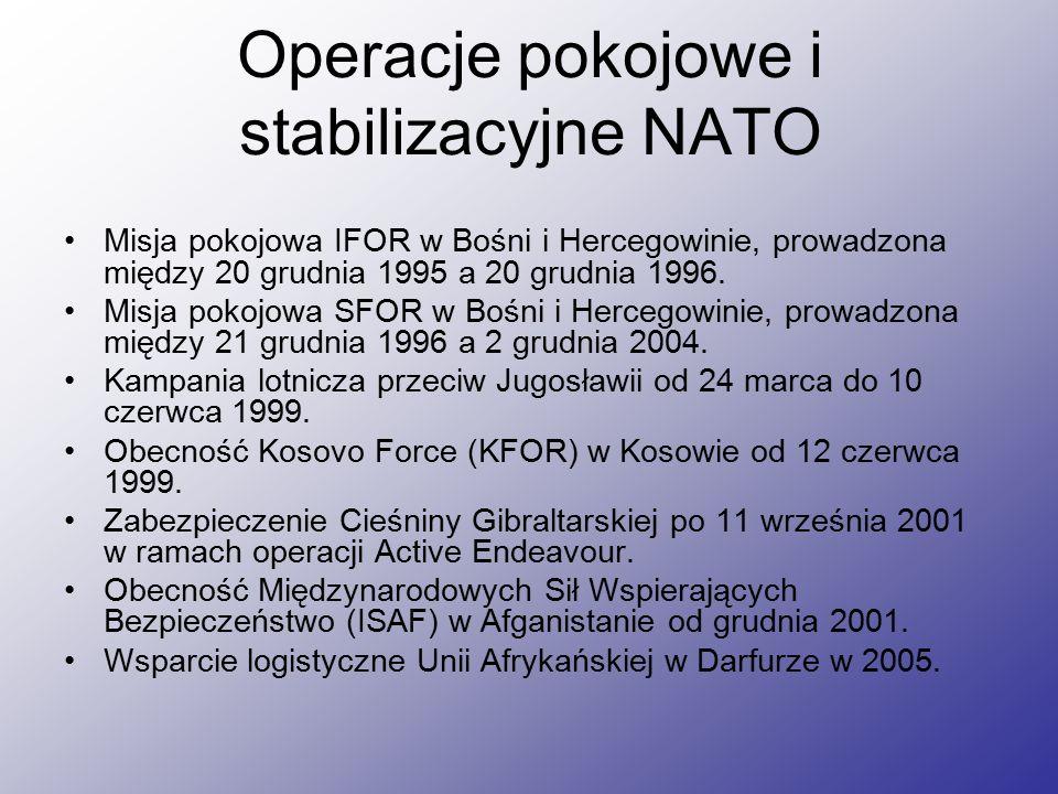 Operacje pokojowe i stabilizacyjne NATO Misja pokojowa IFOR w Bośni i Hercegowinie, prowadzona między 20 grudnia 1995 a 20 grudnia 1996.