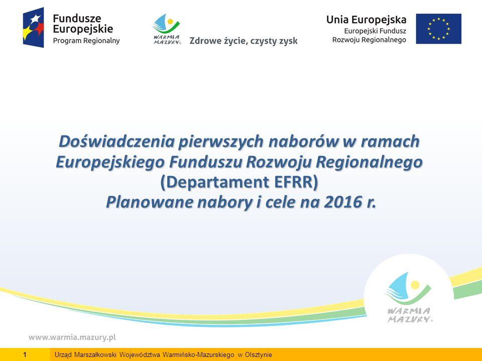 Doświadczenia pierwszych naborów w ramach Europejskiego Funduszu Rozwoju Regionalnego (Departament EFRR) Planowane nabory i cele na 2016 r.