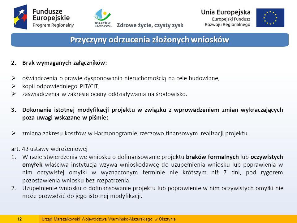 12Urząd Marszałkowski Województwa Warmińsko-Mazurskiego w Olsztynie Przyczyny odrzucenia złożonych wniosków 2.Brak wymaganych załączników:  oświadczenia o prawie dysponowania nieruchomością na cele budowlane,  kopii odpowiedniego PIT/CIT,  zaświadczenia w zakresie oceny oddziaływania na środowisko.