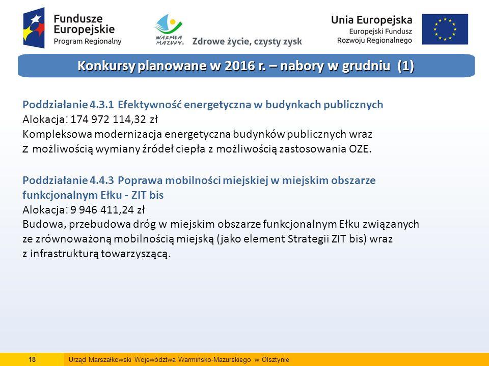 18Urząd Marszałkowski Województwa Warmińsko-Mazurskiego w Olsztynie Konkursy planowane w 2016 r.