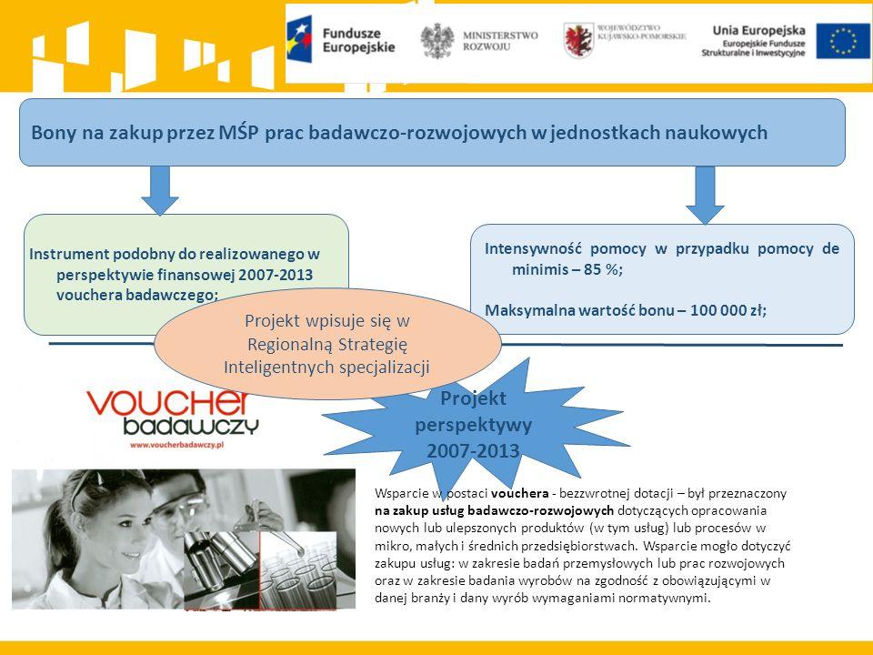 Bony na zakup przez MŚP prac badawczo-rozwojowych w jednostkach naukowych Instrument podobny do realizowanego w perspektywie finansowej 2007-2013 vouc
