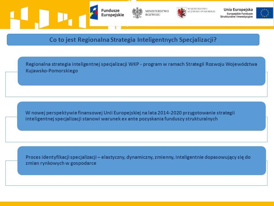 Regionalna strategia inteligentnej specjalizacji WKP - program w ramach Strategii Rozwoju Województwa Kujawsko-Pomorskiego W nowej perspektywie finansowej Unii Europejskiej na lata 2014-2020 przygotowanie strategii inteligentnej specjalizacji stanowi warunek ex ante pozyskania funduszy strukturalnych Proces identyfikacji specjalizacji – elastyczny, dynamiczny, zmienny, inteligentnie dopasowujący się do zmian rynkowych w gospodarce Co to jest Regionalna Strategia Inteligentnych Specjalizacji