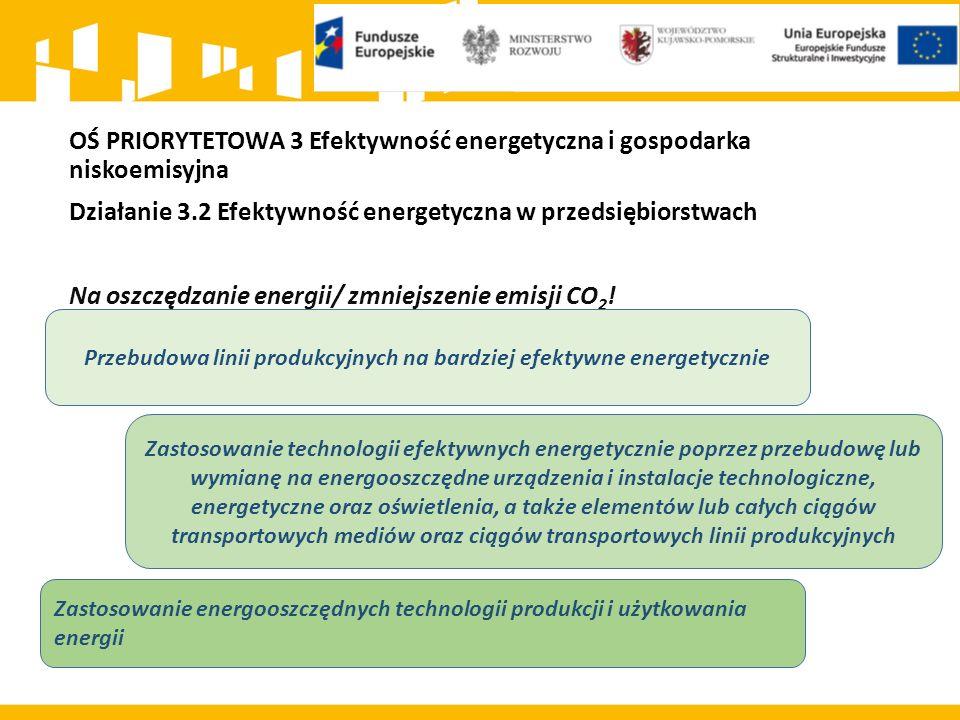 OŚ PRIORYTETOWA 3 Efektywność energetyczna i gospodarka niskoemisyjna Działanie 3.2 Efektywność energetyczna w przedsiębiorstwach Na oszczędzanie ener
