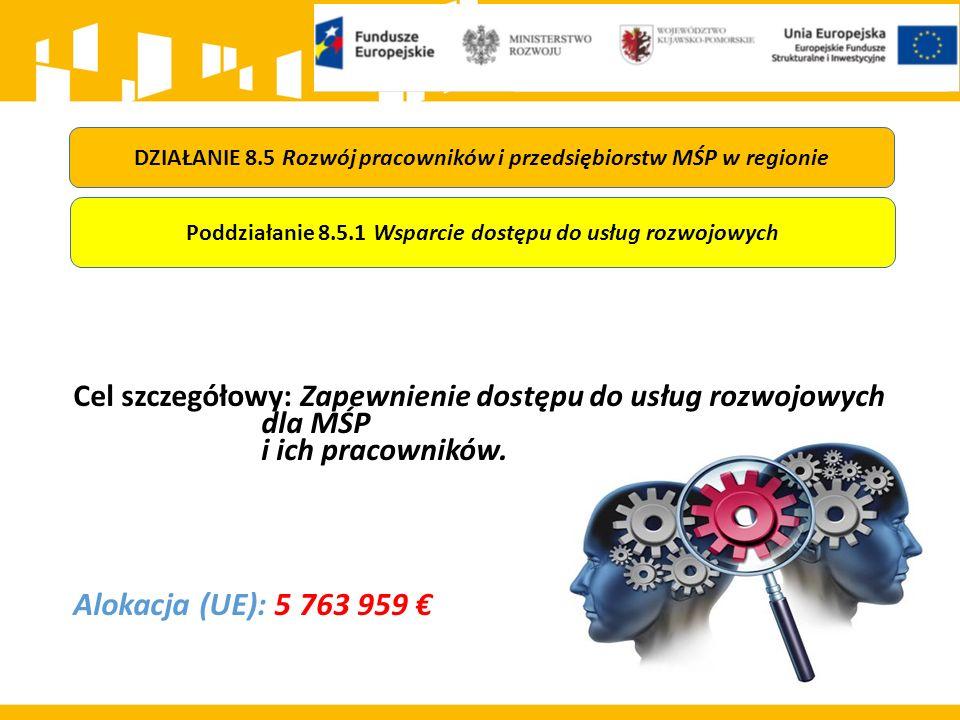 Cel szczegółowy: Zapewnienie dostępu do usług rozwojowych dla MŚP i ich pracowników. Alokacja (UE): 5 763 959 € DZIAŁANIE 8.5 Rozwój pracowników i prz