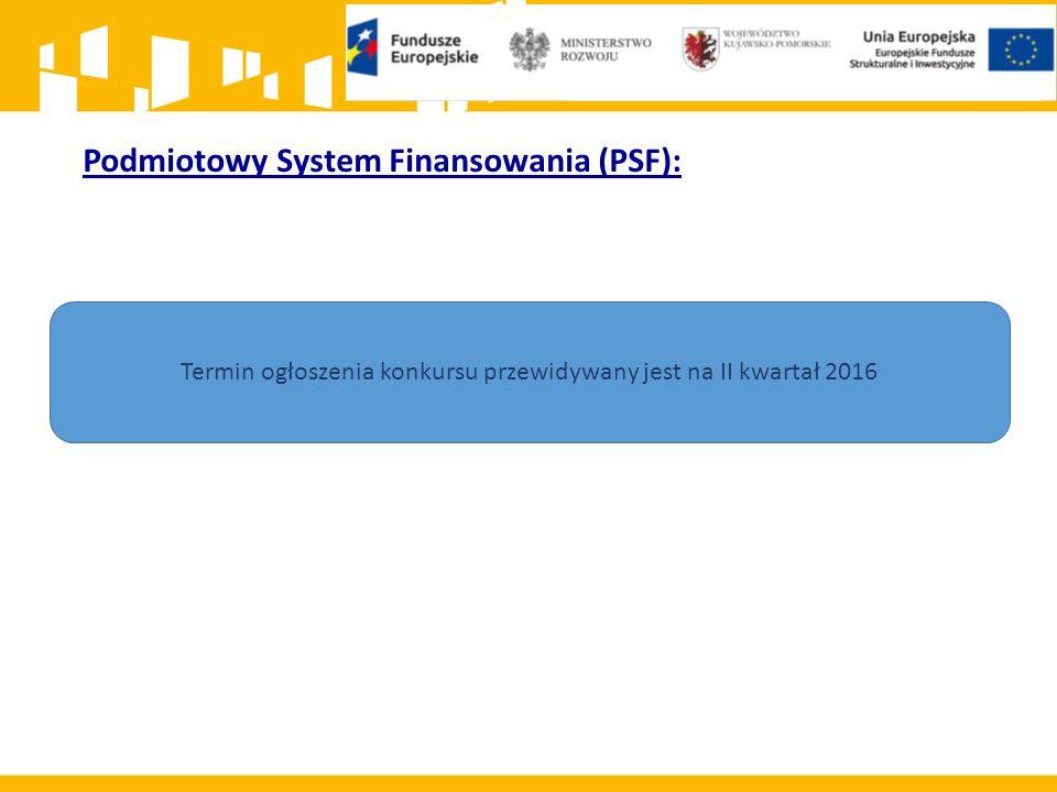 Podmiotowy System Finansowania (PSF): Termin ogłoszenia konkursu przewidywany jest na II kwartał 2016