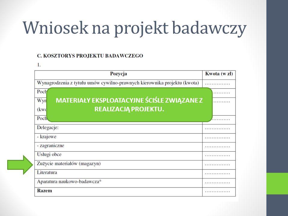 Wniosek na projekt badawczy MATERIAŁY EKSPLOATACYJNE ŚCIŚLE ZWIĄZANE Z REALIZACJĄ PROJEKTU.