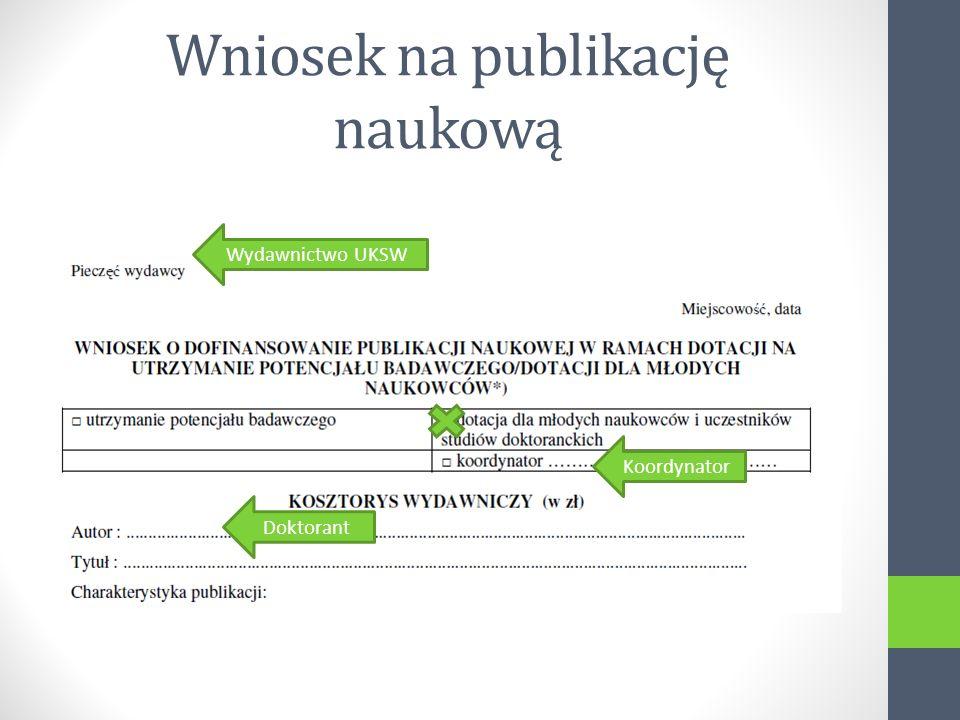 Wniosek na publikację naukową Koordynator Wydawnictwo UKSW Doktorant