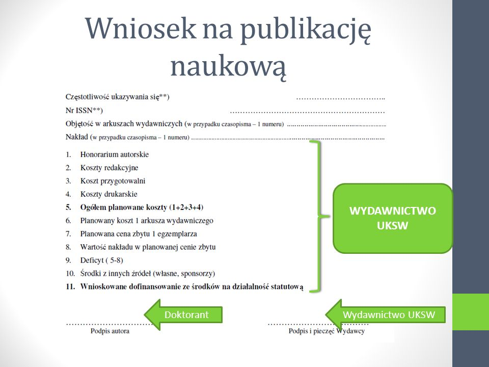 Wniosek na publikację naukową DoktorantWydawnictwo UKSW WYDAWNICTWO UKSW