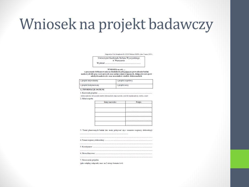 Wniosek na projekt badawczy