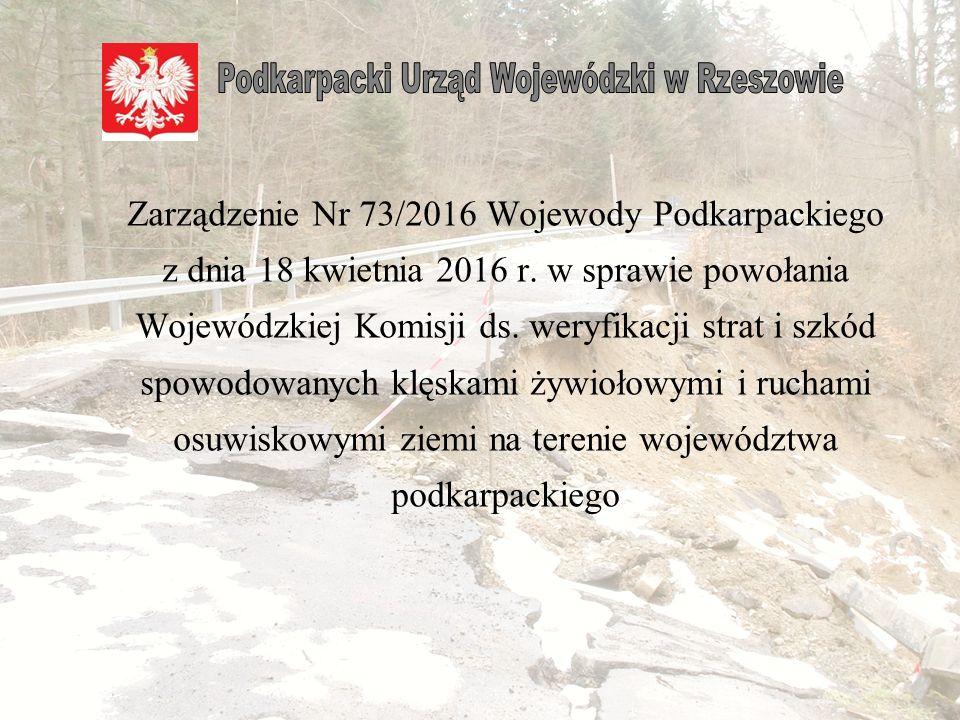 Zarządzenie Nr 73/2016 Wojewody Podkarpackiego z dnia 18 kwietnia 2016 r.