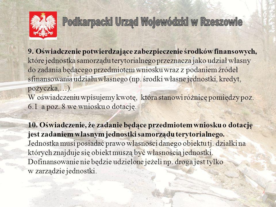 """Jeżeli jednostka przedstawia do dofinansowania zadanie, którego przedmiotem jest obiekt uszkodzony/zniszczony w 2012 r. to w kolumnie """"Straty w całośc"""