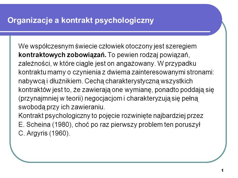 1 Organizacje a kontrakt psychologiczny We współczesnym świecie człowiek otoczony jest szeregiem kontraktowych zobowiązań.