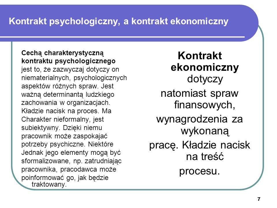 """8 Kontrakt psychologiczny, a kontrakt ekonomiczny Rodzaj kontraktu Treść, odpowiada na pytanie: """"Co jest oczekiwane? Proces, wiąże się ze sposobem, w jakim regulowana jest wymiana EkonomicznyPieniądzeProcedury dyscyplinujące PsychologicznyNagroda za dodatkowy wysiłek Prawa do uzgodnienia"""