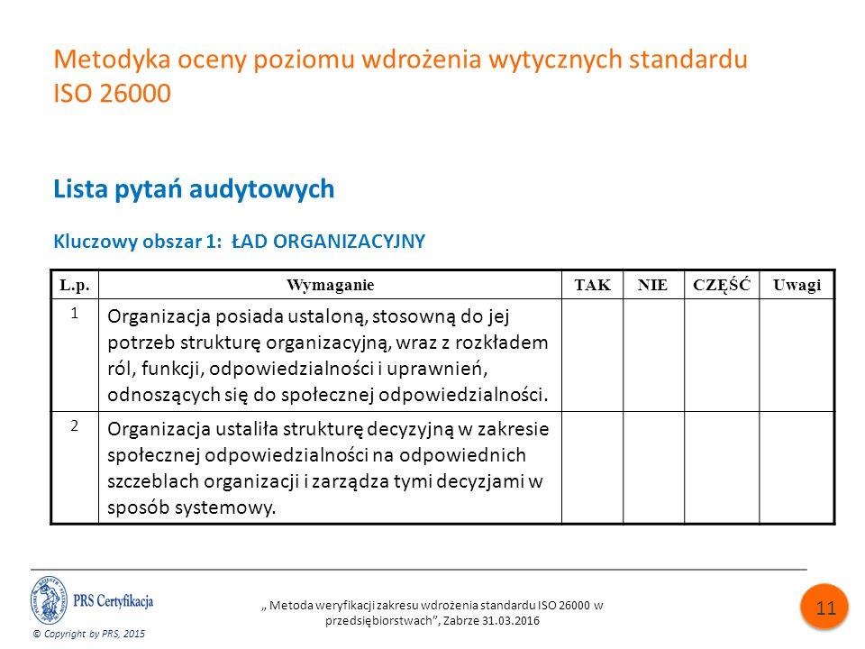 """Metodyka oceny poziomu wdrożenia wytycznych standardu ISO 26000 Lista pytań audytowych Kluczowy obszar 1: ŁAD ORGANIZACYJNY © Copyright by PRS, 2015 """" Metoda weryfikacji zakresu wdrożenia standardu ISO 26000 w przedsiębiorstwach , Zabrze 31.03.2016 11 L.p.WymaganieTAKNIECZĘŚĆUwagi 1 Organizacja posiada ustaloną, stosowną do jej potrzeb strukturę organizacyjną, wraz z rozkładem ról, funkcji, odpowiedzialności i uprawnień, odnoszących się do społecznej odpowiedzialności."""