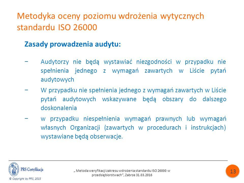 Metodyka oceny poziomu wdrożenia wytycznych standardu ISO 26000 Zasady prowadzenia audytu: − Audytorzy nie będą wystawiać niezgodności w przypadku nie spełnienia jednego z wymagań zawartych w Liście pytań audytowych − W przypadku nie spełnienia jednego z wymagań zawartych w Liście pytań audytowych wskazywane będą obszary do dalszego doskonalenia − w przypadku niespełnienia wymagań prawnych lub wymagań własnych Organizacji (zawartych w procedurach i instrukcjach) wystawiane będą obserwacje.