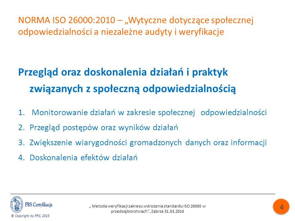 """NORMA ISO 26000:2010 – """"Wytyczne dotyczące społecznej odpowiedzialności a niezależne audyty i weryfikacje Przegląd oraz doskonalenia działań i praktyk związanych z społeczną odpowiedzialnością 1."""