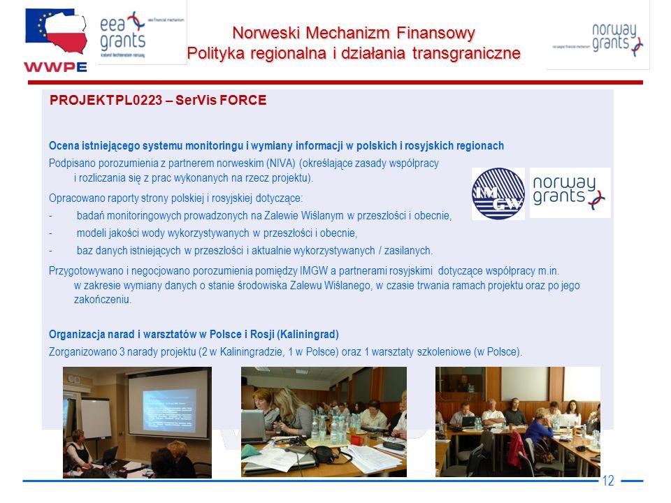 Norweski Mechanizm Finansowy Polityka regionalna i działania transgraniczne 12 Ocena istniejącego systemu monitoringu i wymiany informacji w polskich i rosyjskich regionach Podpisano porozumienia z partnerem norweskim (NIVA) (określające zasady współpracy i rozliczania się z prac wykonanych na rzecz projektu).