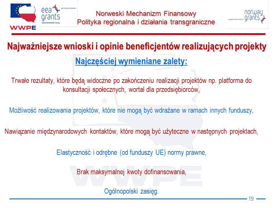 Norweski Mechanizm Finansowy Polityka regionalna i działania transgraniczne Najczęściej wymieniane zalety: Trwałe rezultaty, które będą widoczne po zakończeniu realizacji projektów np.