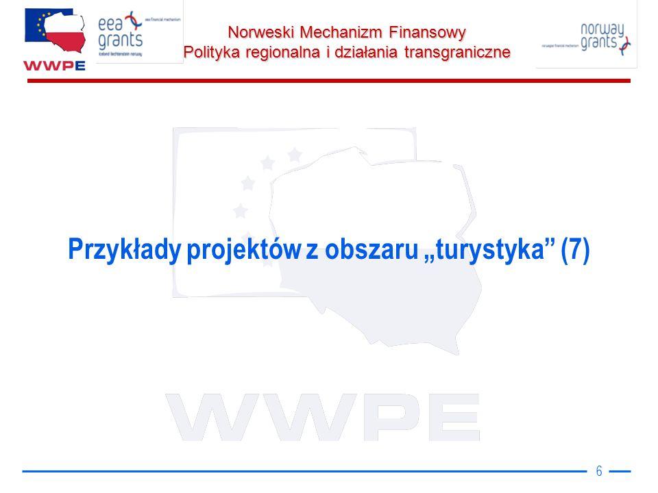 Norweski Mechanizm Finansowy Polityka regionalna i działania transgraniczne W 84 zrealizowanych projektach udział wzięli partnerzy z 17 państw Wśród 50 projektów dwustronnych znalazły się: 22 polsko-rosyjskie, 11 polsko-niemieckich, 3 polsko–litewskie, 3 polsko-duńskie, 2 polsko-włoskie, 2 polsko-francuskie, 2 polsko-holenderskie i 2 polsko-ukraińskie, Po 1 – polsko-szwedzki, polsko-czeski, polsko-angielski 29 projektów wielostronnych (więcej niż 2 kraje) 17