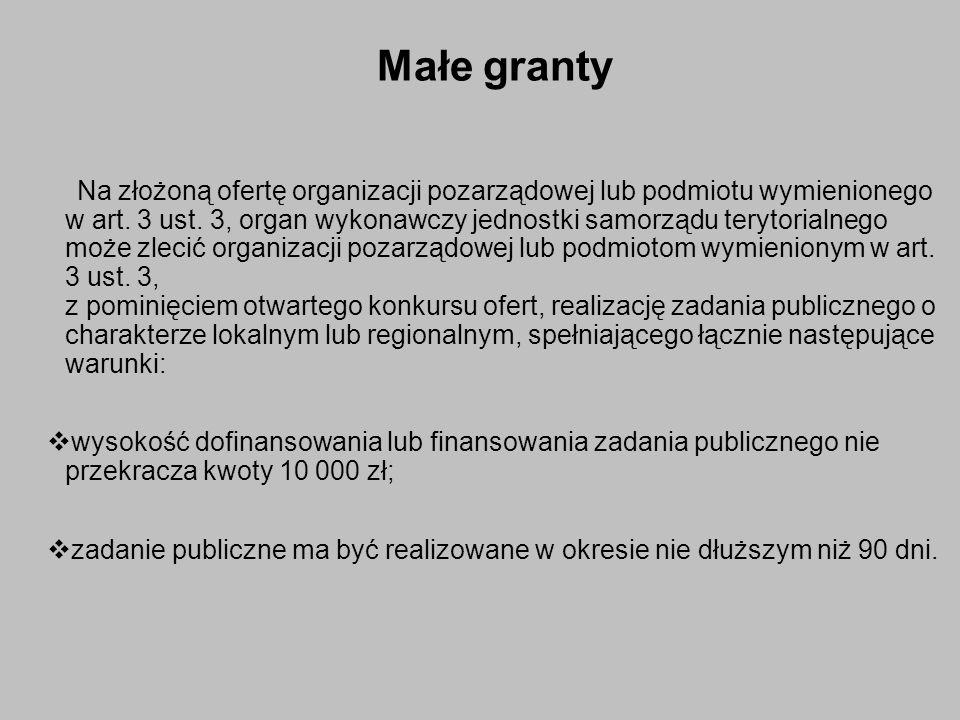 Małe granty Na złożoną ofertę organizacji pozarządowej lub podmiotu wymienionego w art.
